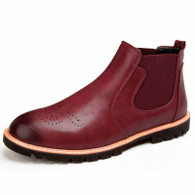 Red leather Brogue slip on dress shoe boot 01