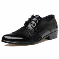Black stripe pattern leather Derby lace up dress shoe 01