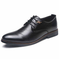 Black leather Derby lace up dress shoe 01