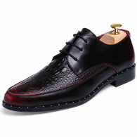 Red crocodile pattern leather Derby lace up dress shoe 01