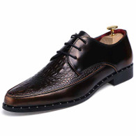 Golden crocodile pattern leather Derby lace up dress shoe 01