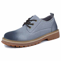 Grey brogue retro leather lace up dress shoe 01