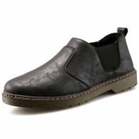 Black retro leather casual slip on dress shoe 01