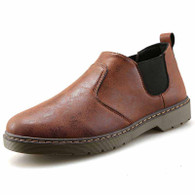 Brown retro leather casual slip on dress shoe 01