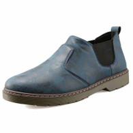 Blue retro leather casual slip on dress shoe 01