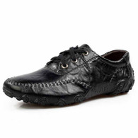Black classic casual leather lace up shoe 01