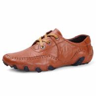 Brown classic casual leather lace up shoe 01
