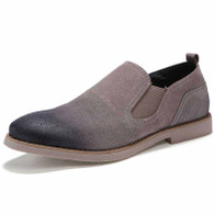 Grey retro leather slip on dress shoe 01