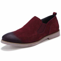 Red retro leather slip on dress shoe 01