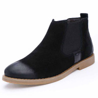 Black retro leather slip on dress shoe boot 01