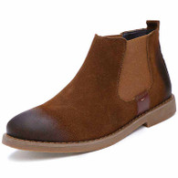 Brown retro leather slip on dress shoe boot 01