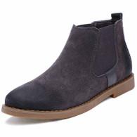 Grey retro leather slip on dress shoe boot 01