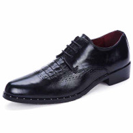Black crocodile leather brogue Derby lace up dress shoe 01