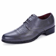 Grey crocodile leather brogue Derby lace up dress shoe 01