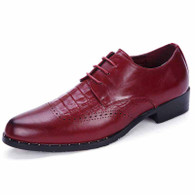 Red crocodile leather brogue Derby lace up dress shoe 01