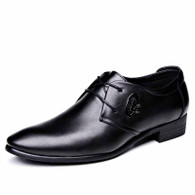 Black simple city leather lace up dress shoe 01