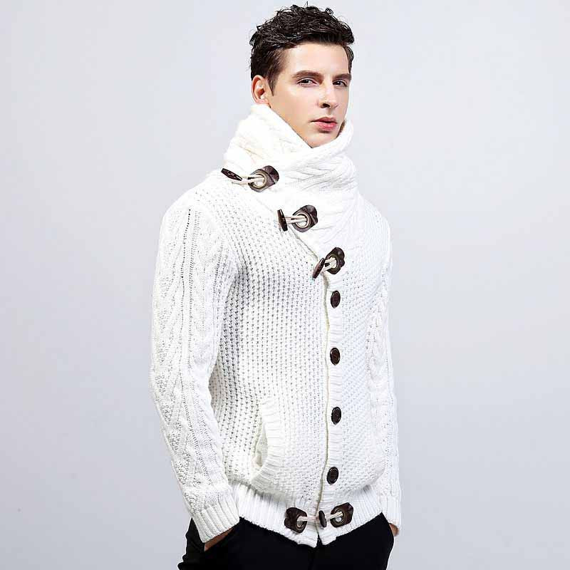 White high neck texture button long sleeve knit sweater 01 9c4973817