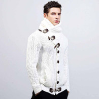 White high neck texture button long sleeve knit sweater 01