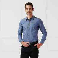 Denim blue button long sleeve shirt 01