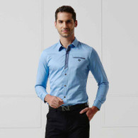 Blue button long sleeve shirt 01