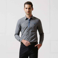 Dark grey button long sleeve shirt 01