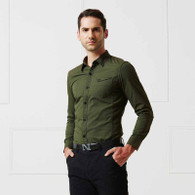 Army green snap button long sleeve cotton shirt 01