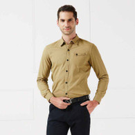 Khaki snap button long sleeve cotton shirt 01