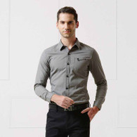 Grey snap button long sleeve cotton shirt 01
