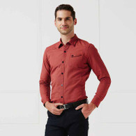 Red snap button long sleeve cotton shirt 01
