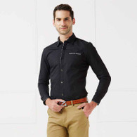 Black button long sleeve cotton shirt 01