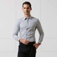 Grey button long sleeve cotton shirt 01