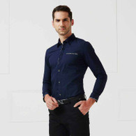 Navy button long sleeve cotton shirt 01