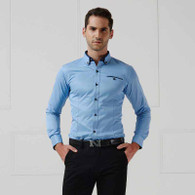 Blue button long sleeve cotton shirt 01