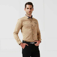 Khaki brown button long sleeve cotton shirt 01