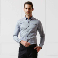 Grey button long sleeve cotton shirt 1189 01