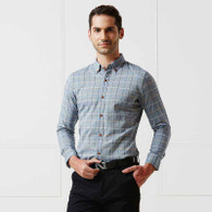 Blue check button long sleeve cotton shirt 01