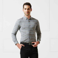 Grey check button long sleeve cotton shirt 01