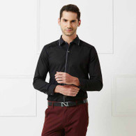 Black pleated snap button long sleeve cotton shirt 01