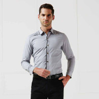 Grey pleated snap button long sleeve cotton shirt 01