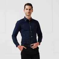 Navy pleated snap button long sleeve cotton shirt 01