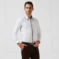 White pleated snap button long sleeve cotton shirt 01