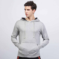 Grey plain pull over long sleeve cotton sweater hoodies 01