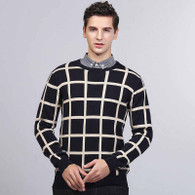 Navy stripe check pull over long sleeve cotton sweater 01
