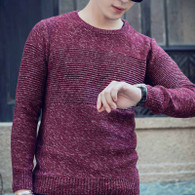 Red stripe pull over long sleeve cotton sweater 1201 01