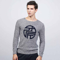 Grey wide neck pull over long sleeve cotton sweater 01