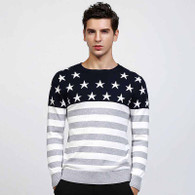Grey star stripe pull over long sleeve cotton sweater 01