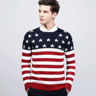 Red star stripe pull over long sleeve cotton sweater 01