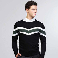 Black stripe pattern pull over long sleeve sweater 01