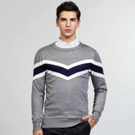 Grey stripe pattern pull over long sleeve sweater 01