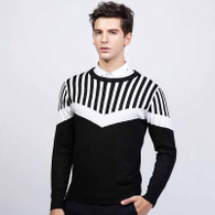 Black stripe pattern pull over long sleeve sweater 1206 01